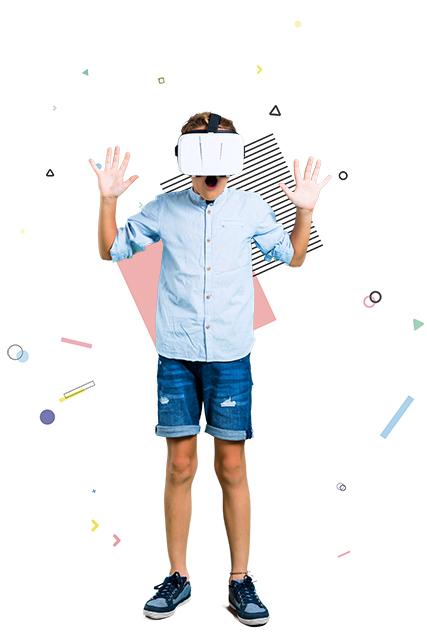 Little kid using VR glasses